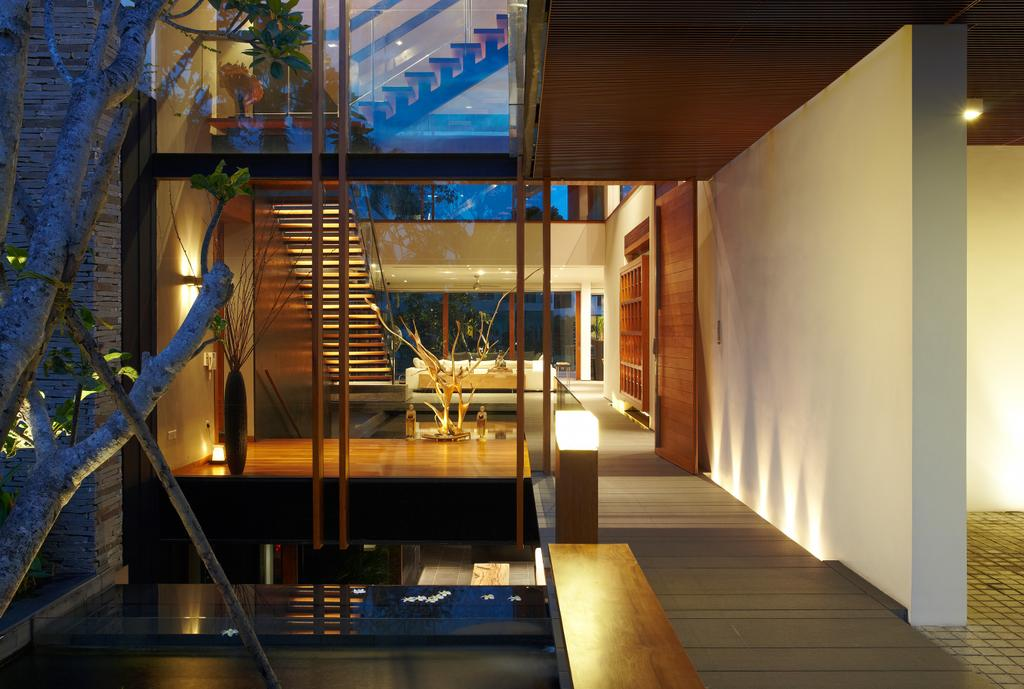 Modern, Landed, Ocean Drive 1, Architect, Greg Shand Architects, Walkway, Pond, Small Pond, Indoor Pond, Wooden Ceiling, Brown Ceiling, False Ceiling, Lighting, HDB, Building, Housing, Indoors, Loft, Interior Design