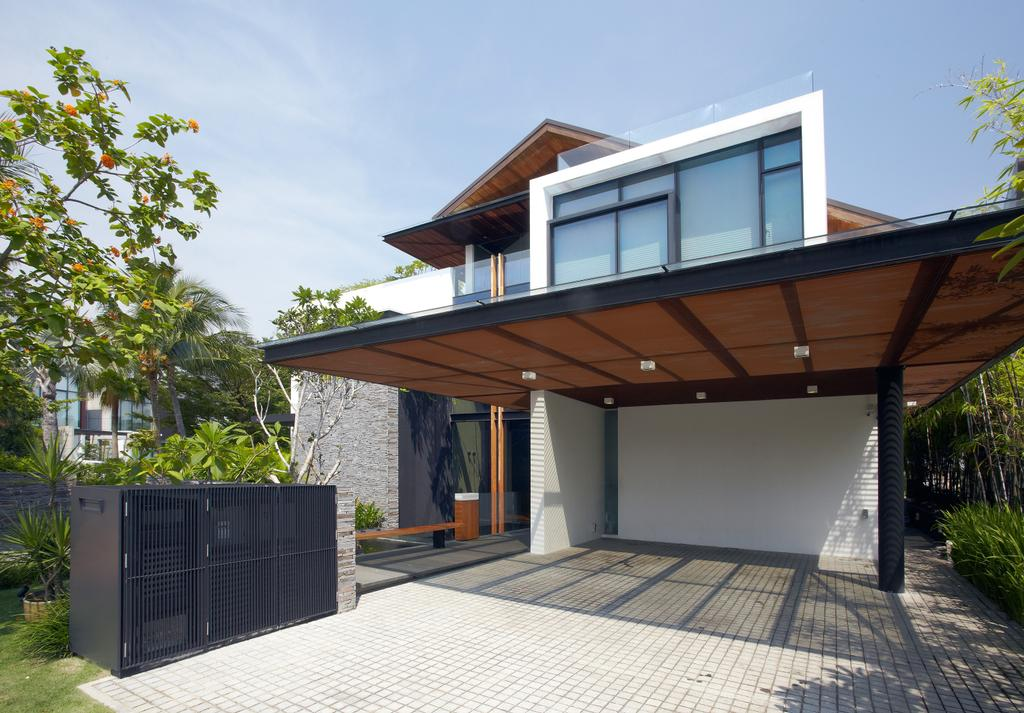 Modern, Landed, Ocean Drive 1, Architect, Greg Shand Architects, Exterior View, Gate, Entrance, Indoor Carpark, Shelter, Building, House, Housing, Villa