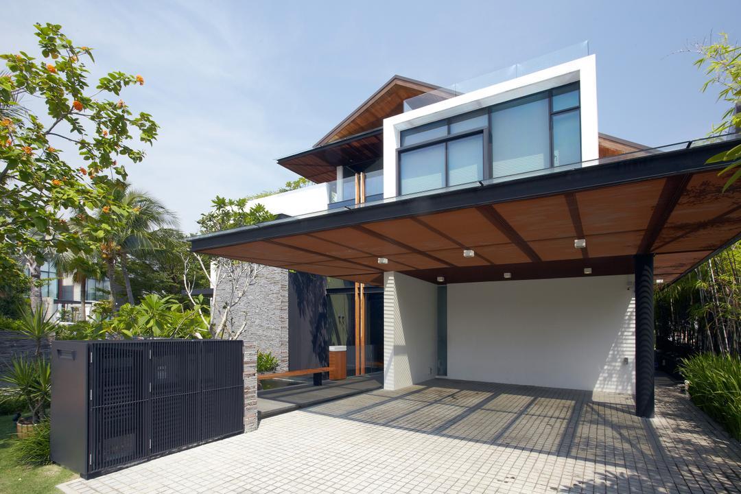 Ocean Drive 1, Greg Shand Architects, Modern, Landed, Exterior View, Gate, Entrance, Indoor Carpark, Shelter, Building, House, Housing, Villa