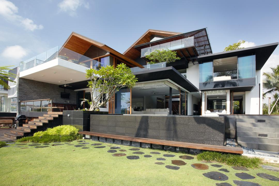 Ocean Drive 1, Greg Shand Architects, Modern, Landed, Exterior View, Grass Patch, Pebble Steps, Bushes, Plants, Trees, Glass Barricade, Steps, Concrete Gates, Building, House, Housing, Villa, Balcony