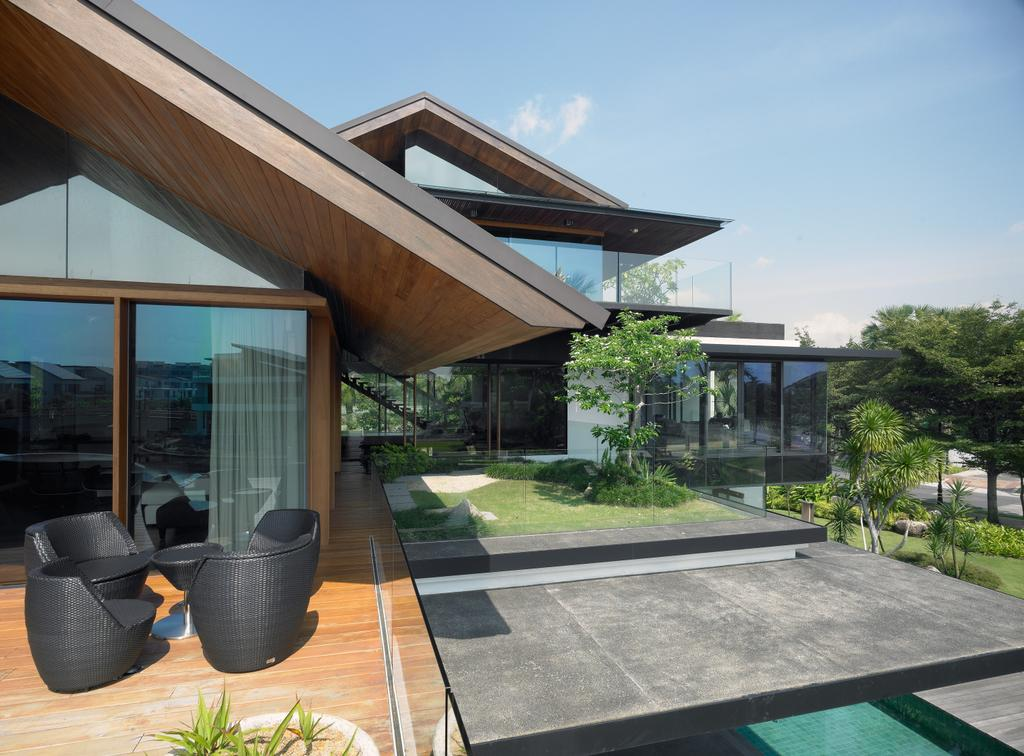 Modern, Landed, Ocean Drive 1, Architect, Greg Shand Architects, Glass Walls, Glass Door, Wooden Flooring, Black Outdoor Seats, Black Chairs, Couch, Furniture, Chair, Building, House, Housing, Villa