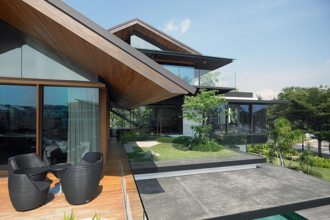 Ocean Drive 1, Greg Shand Architects, Modern, Landed, Glass Walls, Glass Door, Wooden Flooring, Black Outdoor Seats, Black Chairs, Couch, Furniture, Chair, Building, House, Housing, Villa