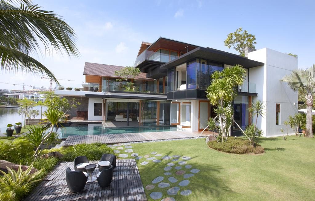 Modern, Landed, Ocean Drive 1, Architect, Greg Shand Architects, Pebble Steps, Grass Patch, Trees, Plants, Outdoor, Dining Set, Building, House, Housing, Villa, Backyard, Outdoors, Yard