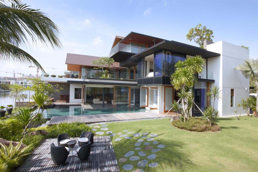 Ocean Drive 1, Greg Shand Architects, Modern, Landed, Pebble Steps, Grass Patch, Trees, Plants, Outdoor, Dining Set, Building, House, Housing, Villa, Backyard, Outdoors, Yard