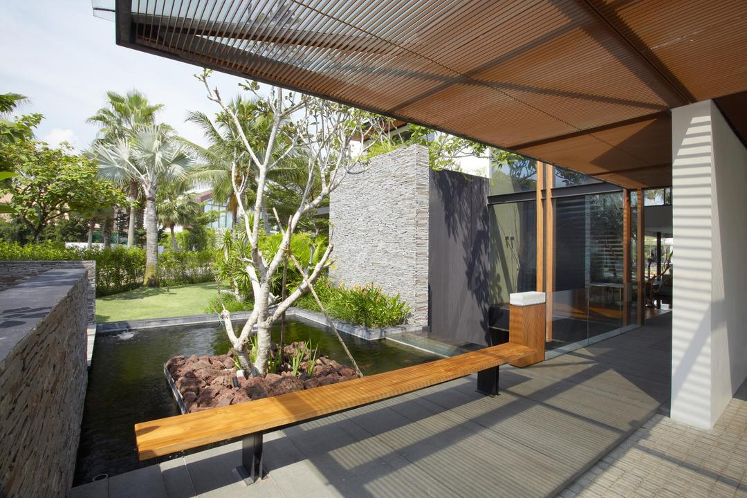 Ocean Drive 1, Greg Shand Architects, Modern, Landed, Bench, Wooden Bench, Indoor Pond, Small Pond, Plants, Trees, Concrete Walls, Concrete Wall, Wooden Ceiling, Wooden Shelter, Flora, Jar, Plant, Potted Plant, Pottery, Vase, Bonsai, Tree, Door, Sliding Door