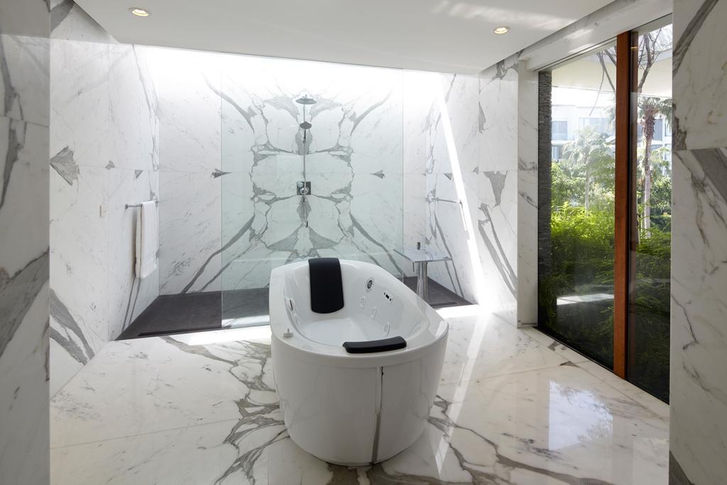Modern, Landed, Bathroom, Cove Way 1, Architect, Greg Shand Architects, Marble Flooring, Marble Walls, White Bathtub, Glass Doors, Wooden Framed Doors, Indoors, Interior Design, Room