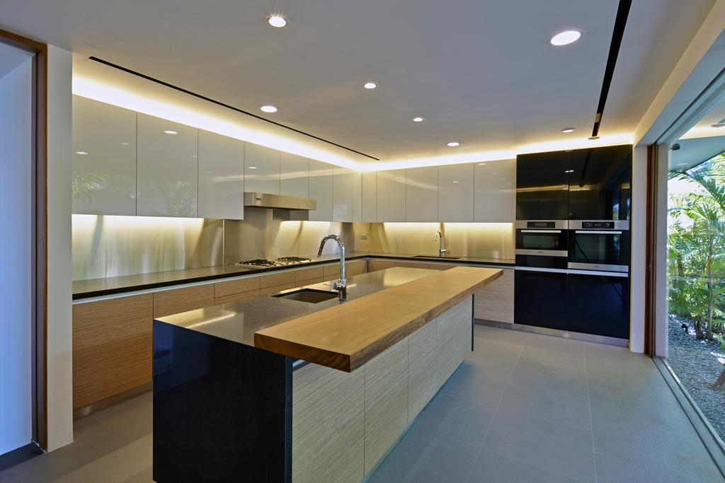 Modern, Landed, Kitchen, Cove Way 1, Architect, Greg Shand Architects, Ceiling Lights, White Cabinets, Kitchen Counter, Wooden Board, Concealed Lights, Dining Table, Furniture, Table