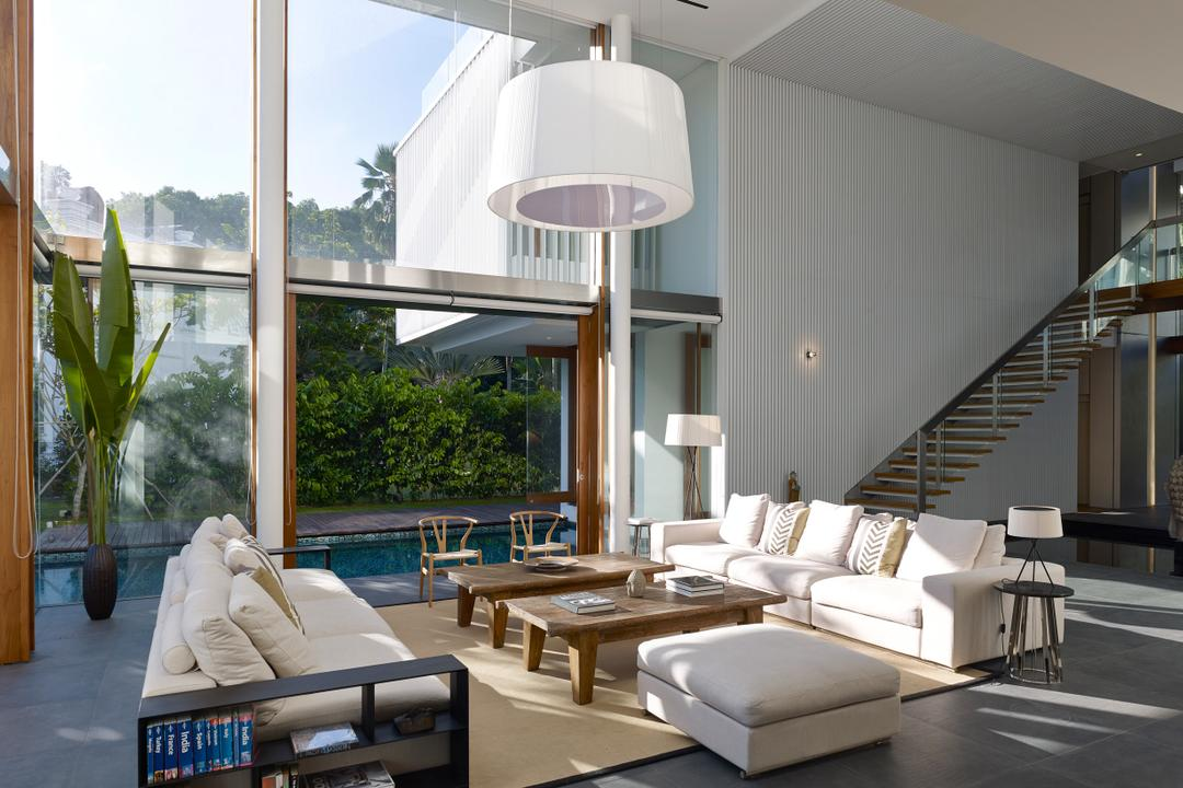 Cove Way 1, Greg Shand Architects, Modern, Living Room, Landed, Wooden Pillars, Pendant Light, White, Sofa, Coffee Table, Brown, High Ceiling, High Windows, Flora, Jar, Plant, Potted Plant, Pottery, Vase, HDB, Building, Housing, Indoors, Loft, Interior Design, Dining Room, Room