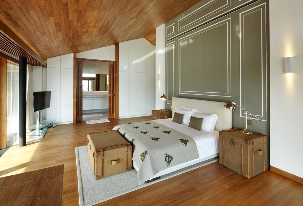 Modern, Landed, Bedroom, Cove Way 1, Architect, Greg Shand Architects, Wooden Flooring, Wooden Ceiling, Wooden Suitcase, Carpet, Wall Lighting, Slanted Ceiling, Hardwood, Wood, Flooring, Indoors, Interior Design, Trunk