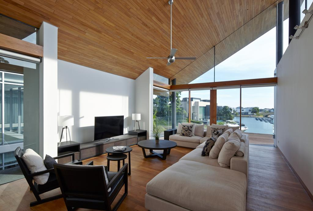 Modern, Landed, Living Room, Cove Way 1, Architect, Greg Shand Architects, Wooden Ceiling, White Sofa, High Ceiling, Ceiling Fan, Glass Wall, Coffee Table, Arm Chair, Wooden Floor, Couch, Furniture, Chair