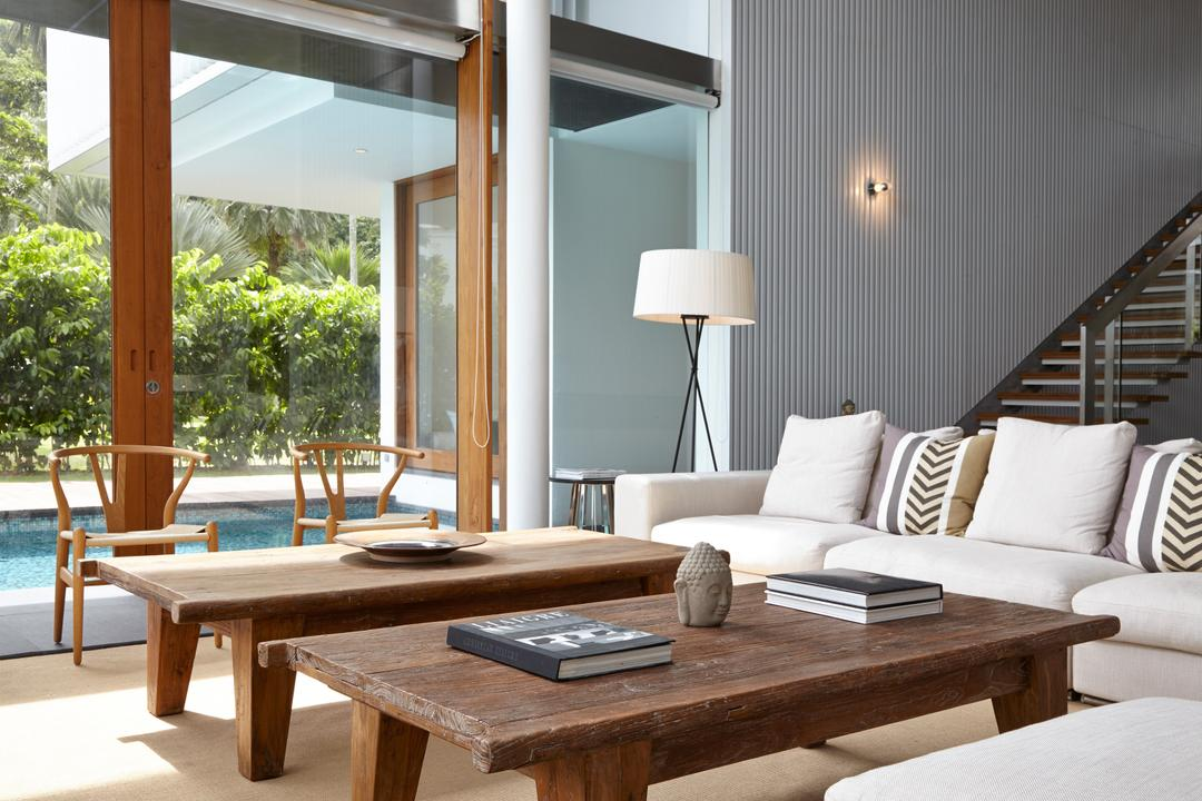 Cove Way 1, Greg Shand Architects, Modern, Living Room, Landed, Wooden Pillar, Wooden Table, Sofa, Floor Lamp, Coffee Table, Flora, Jar, Plant, Potted Plant, Pottery, Vase, Furniture, Couch, Indoors, Interior Design