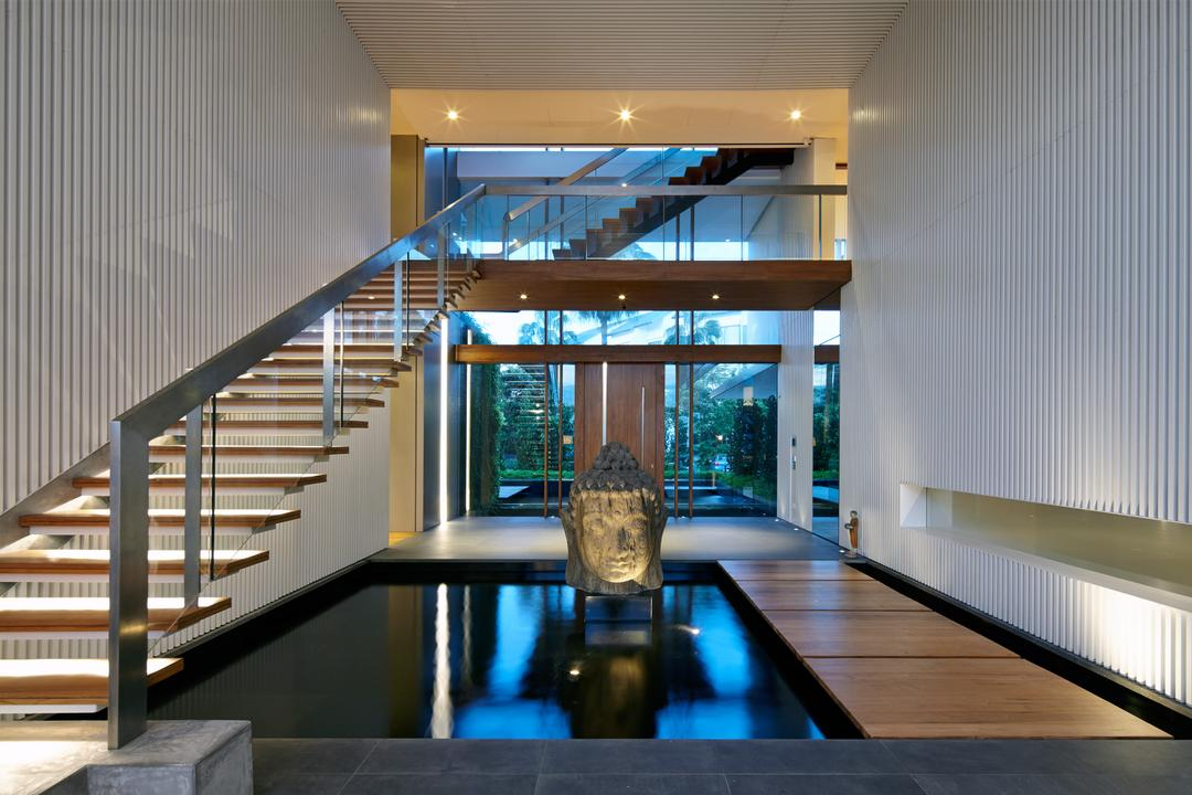 Cove Way 1, Greg Shand Architects, Modern, Landed, Buddha Statue, Wooden Steps, Concealed Lights, Step Lights, Wooden Platform, Small Pond, Stairway, Spa, Indoors, Interior Design