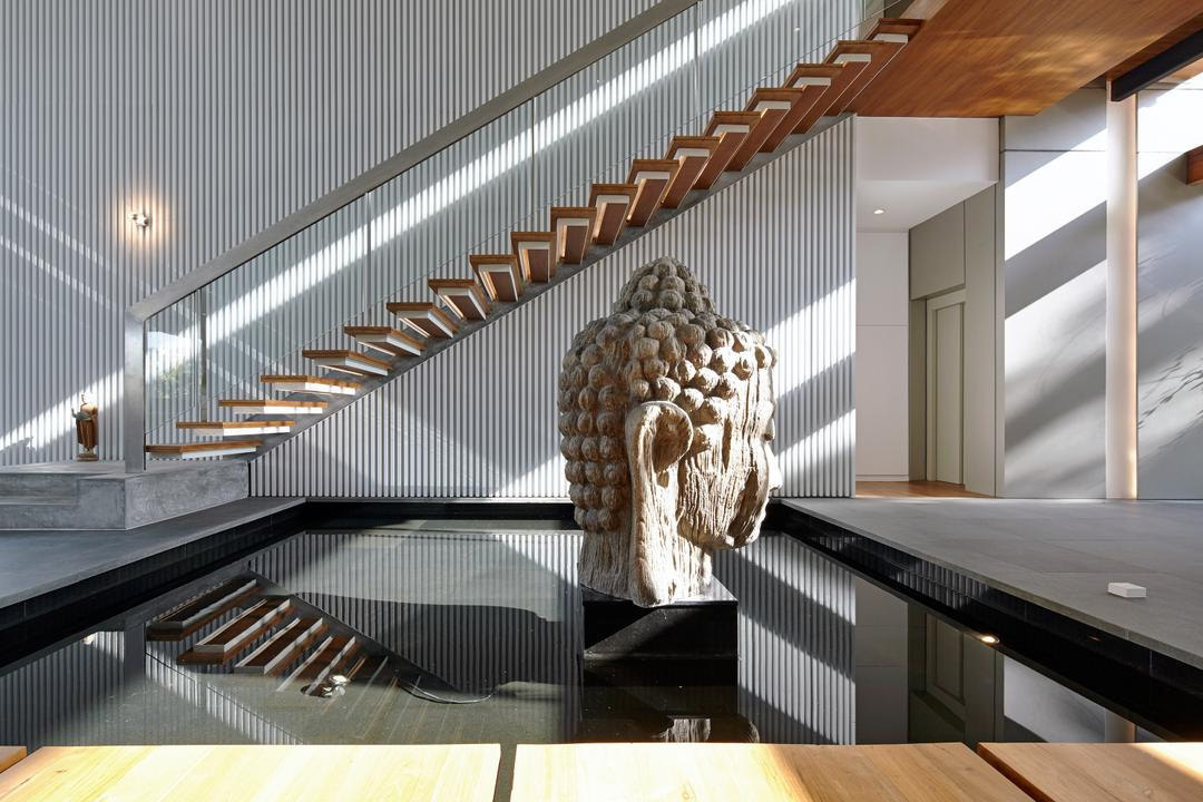 Cove Way 1, Greg Shand Architects, Modern, Landed, Stairway, Budhha Statue, Wooden Steps, Glass Railing, Art, Sculpture, Head
