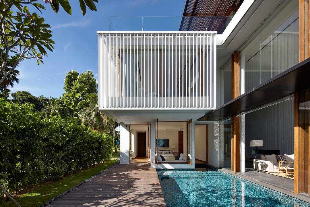 Cove Way 1, Greg Shand Architects, Modern, Landed, Plants, Trees, Indoor Pool, Private Pool, Wooden Pillars, White Beams, Building, House, Housing, Villa, Pool, Water, Flora, Forest, Land, Nature, Outdoors, Plant, Rainforest, Tree, Vegetation, Jungle