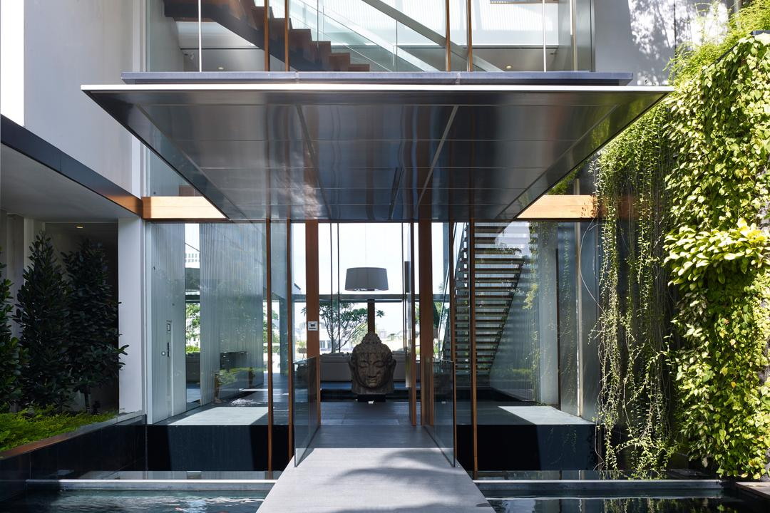 Cove Way 1, Greg Shand Architects, Modern, Landed, Shelter, Pond, Wall Plants, Plants On Wall, Glass Wall, Small Pond, Flora, Jar, Plant, Potted Plant, Pottery, Vase