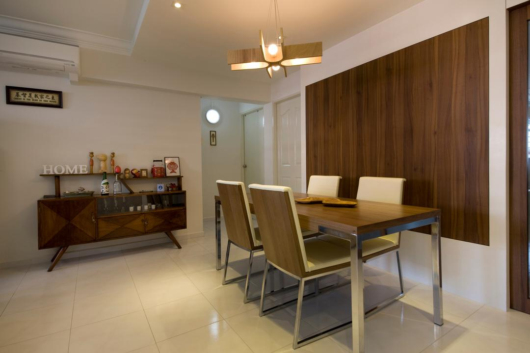 Tampines, Liid Studio, Traditional, Dining Room, HDB, Pendant Light, Pendant Lighting, Wooden Wall, Wooden Shelf, Brown Shelf, Traditional Shelf, Old School Shelf, Old School, Shelf, Wooden Dining Table, Dining Table, Wooden, Dining Chair, Sink, Chair, Furniture, Sideboard, Indoors, Interior Design, Room, Table, Desk