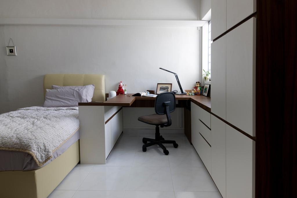 Traditional, HDB, Bedroom, Tampines, Interior Designer, Liid Studio, White All, Study Desk, Study Chair, Office Chair, White Cabinet, Cushioned Headboard, Bed, Furniture, Chair, Desk, Table