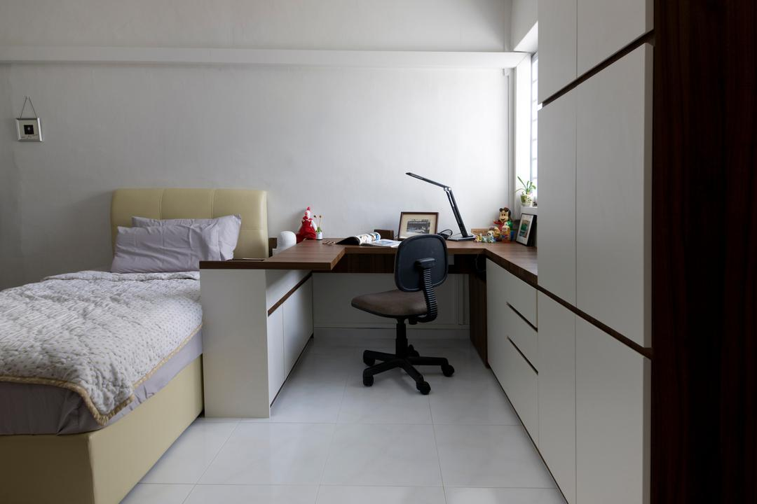 Tampines, Liid Studio, Traditional, Bedroom, HDB, White All, Study Desk, Study Chair, Office Chair, White Cabinet, Cushioned Headboard, Bed, Furniture, Chair, Desk, Table