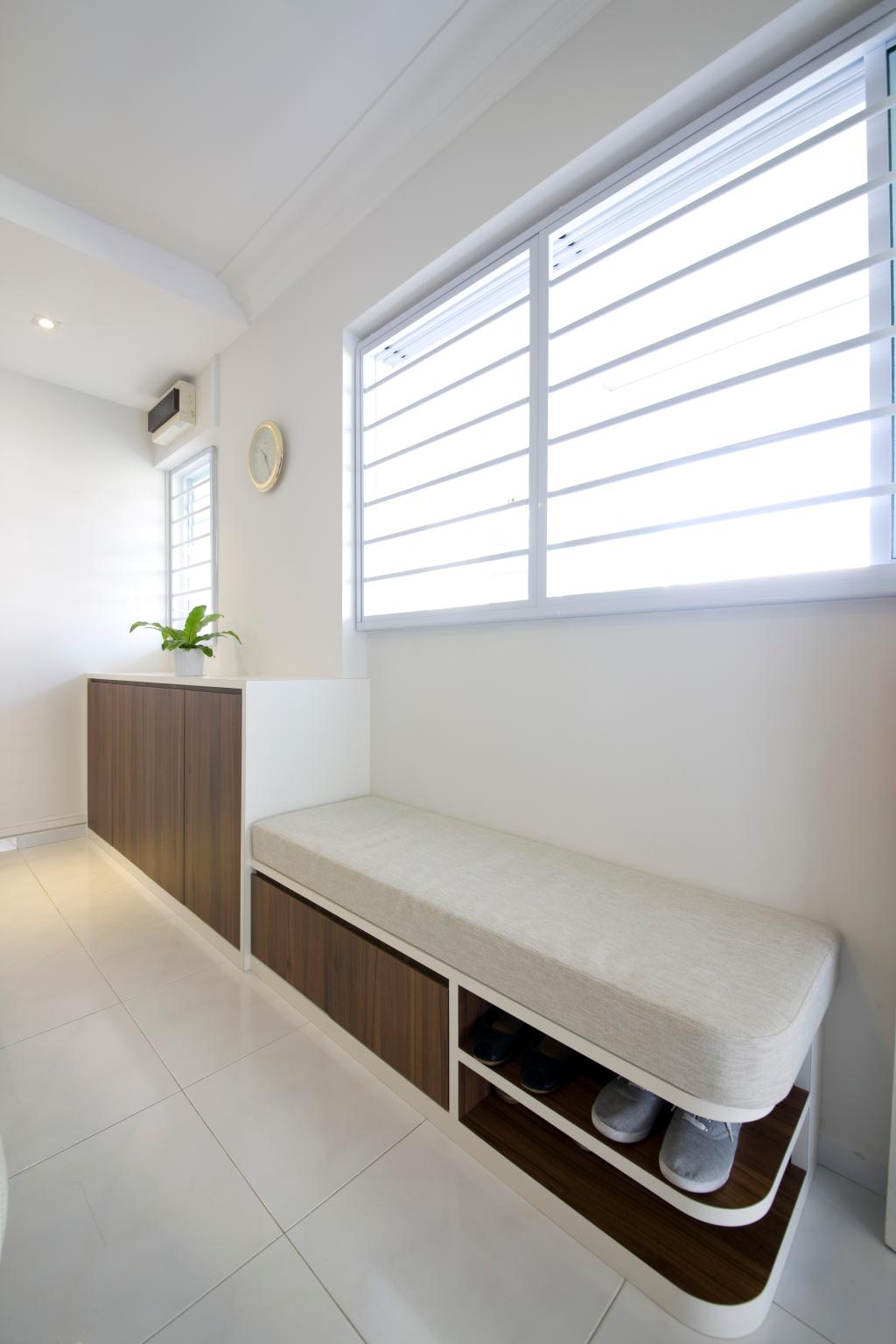 Traditional, HDB, Living Room, Tampines, Interior Designer, Liid Studio, White Walls, White Ceiling, False Ceiling, White Flooring, Wooden Cabinet, Potted Plant, Cushioned Seat, Shoe Rack