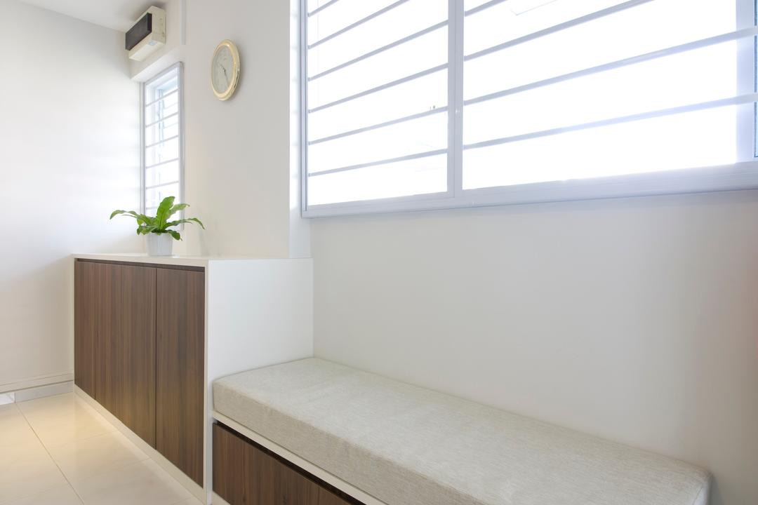 Tampines, Liid Studio, Traditional, Living Room, HDB, White Walls, White Ceiling, False Ceiling, White Flooring, Wooden Cabinet, Potted Plant, Cushioned Seat, Shoe Rack