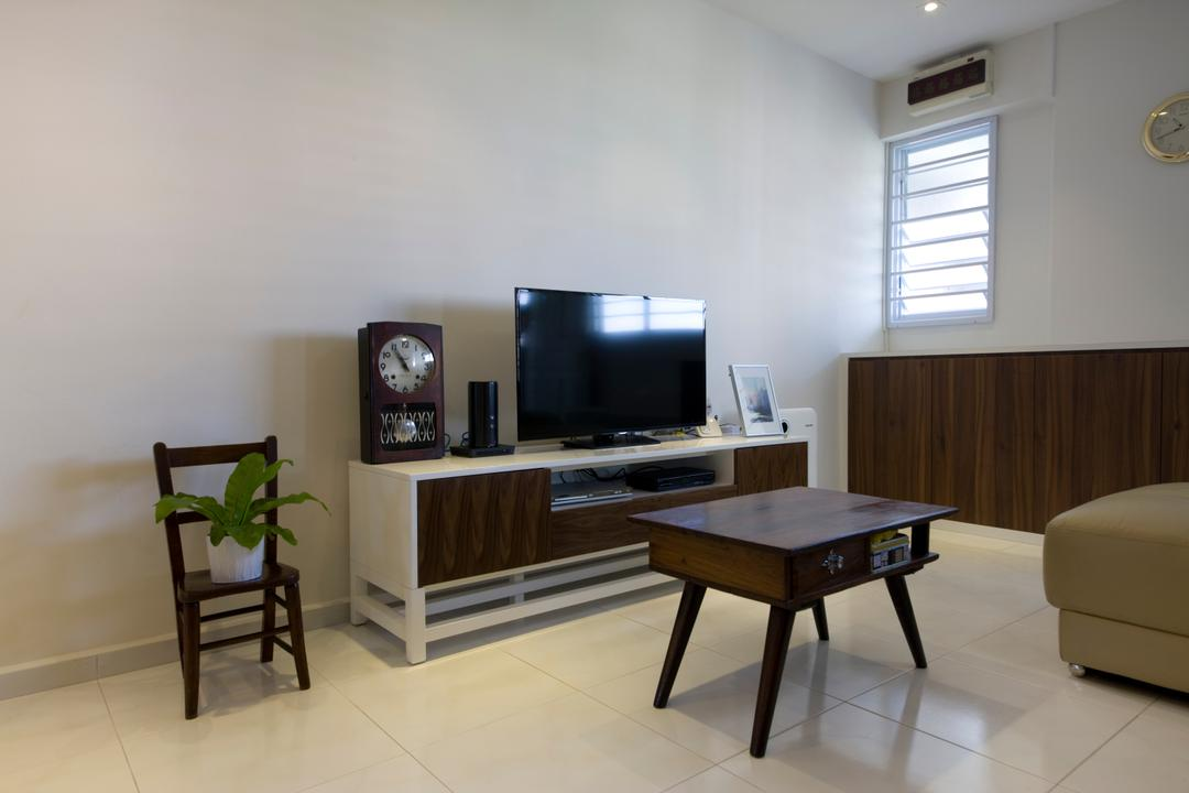 Tampines, Liid Studio, Traditional, Living Room, HDB, White Floor, Wooden Cabinet, Brown Cabinet, Brown Chair, Wooden Chair, Wooden Coffee Table, Wooden, Coffee Table, Tv Console, Flatscreen Tv, Old Clock, Furniture