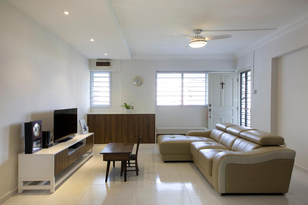 Tampines, Liid Studio, Traditional, Living Room, HDB, Ceiling Fan, White Floor, White Wall, Wooden Cabinet, Coffee Table, Wooden Coffee Table, Wooden, Tv Shelf, Tv Console, Flatscreen Tv, False Ceiling, White Ceiling, Recessed Lights, Dining Table, Furniture, Table, Indoors, Interior Design