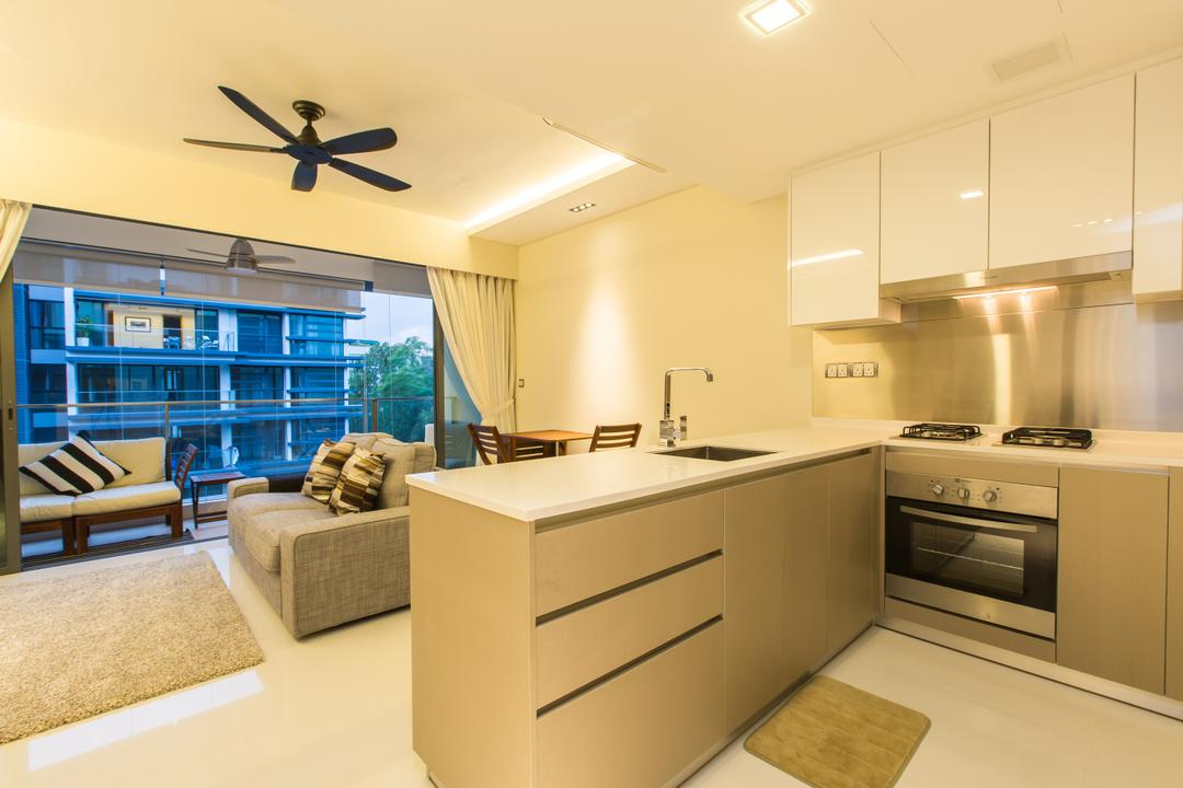 Hedges Park (Loyang), Space Factor, Modern, Kitchen, Condo, Kitchen Counter, Rug, White Cabinets, Black Ceiling Fan, Ceiling Fan, Grey Carpet, Gray Carpet, Grey, Gray, Curtains, Sofa, Grey Sofa, Gray Sofa, Indoors, Interior Design, Room, Propeller, Appliance, Electrical Device, Oven
