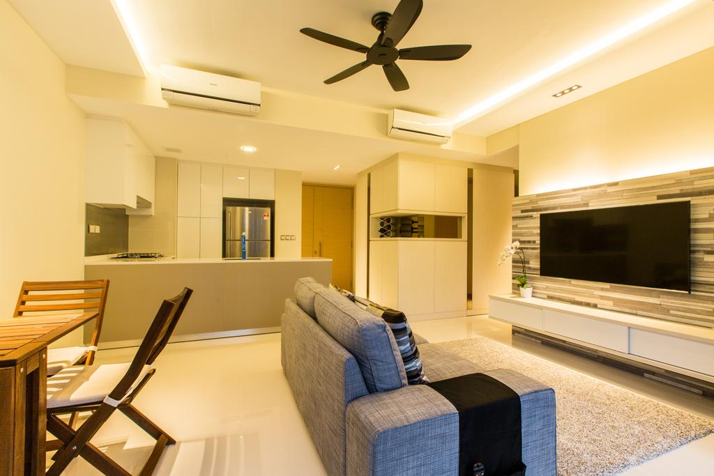 Modern, Condo, Living Room, Hedges Park (Loyang), Interior Designer, Space Factor, Black, Carpet, Grey, Gray, Grey Sofa, Gray Sofa, Flatscreen Tv, Concealed Lights, Feature Wall, False Ceiling, Kitchen Counter, Wooden Dining Table, Wooden Dining Chair, Grey Carpet, Gray Carpet, Chair, Furniture, Couch