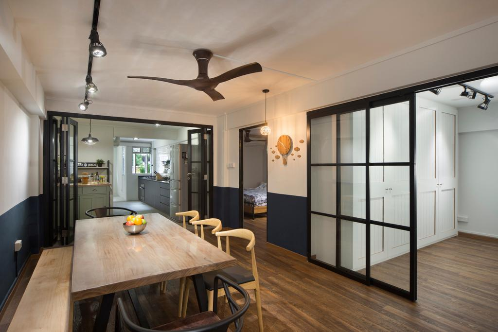 Industrial, HDB, Dining Room, Kampong Arang Road, Interior Designer, Versaform, Minimalistic, Indoors, Interior Design, Room, Dining Table, Furniture, Table