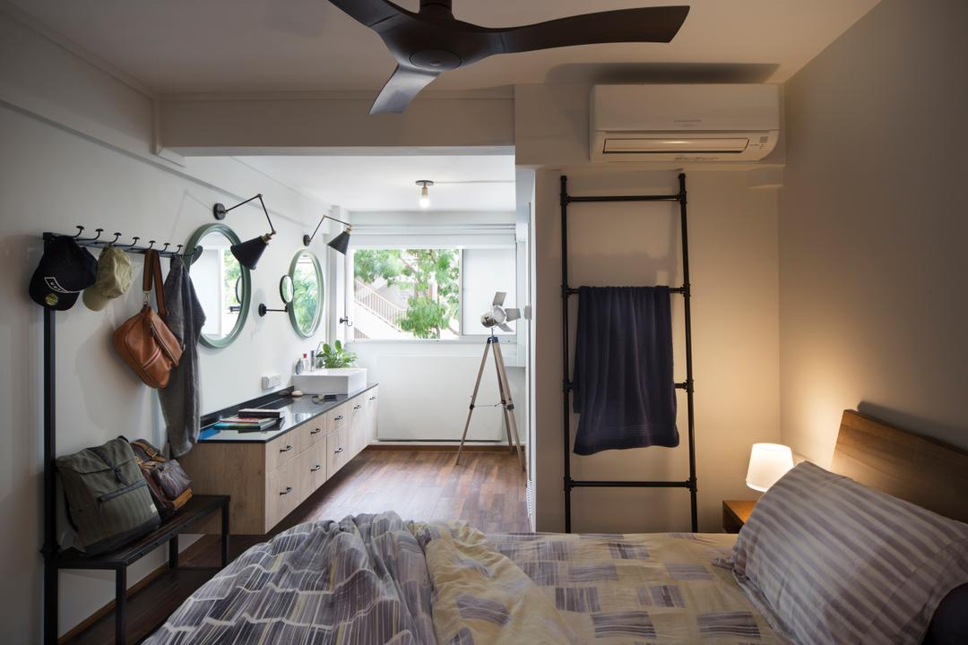 Kampong Arang Road, Versaform, Industrial, Minimalistic, Bedroom, HDB, Modern Contemporary Bedroom, Wooden Floor, Kign Size Bed, Cozy, Cosy, Wooden Bedding Panel, Ceiling Fan, Roll Down Curtain, Couch, Furniture, Building, Housing, Indoors, Bed, Interior Design, Room, Kitchen