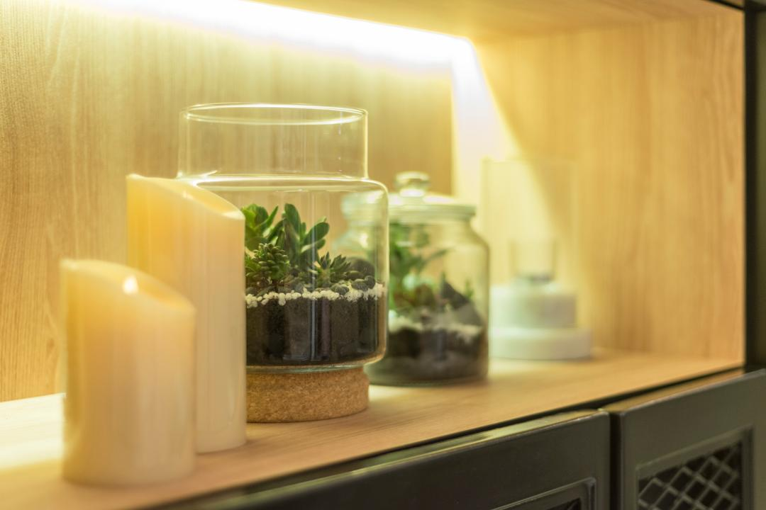 Nine Residences @ Yishun, The Local INN.terior 新家室, Modern, Industrial, Living Room, Condo, Flora, Herbs, Jar, Mint, Plant, Planter, Potted Plant, Pottery, Vase