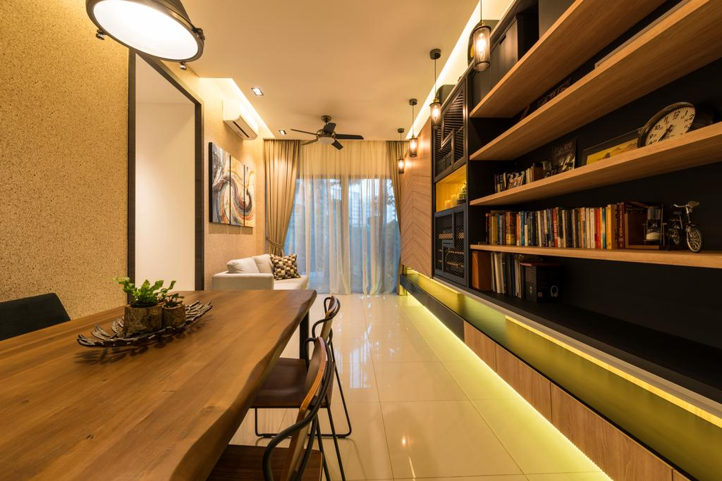 Modern, Condo, Dining Room, Nine Residences @ Yishun, Interior Designer, The Local INN.terior 新家室, Industrial, Flora, Jar, Plant, Potted Plant, Pottery, Vase, Indoors, Interior Design, Library, Room, Dining Table, Furniture, Table, Chair