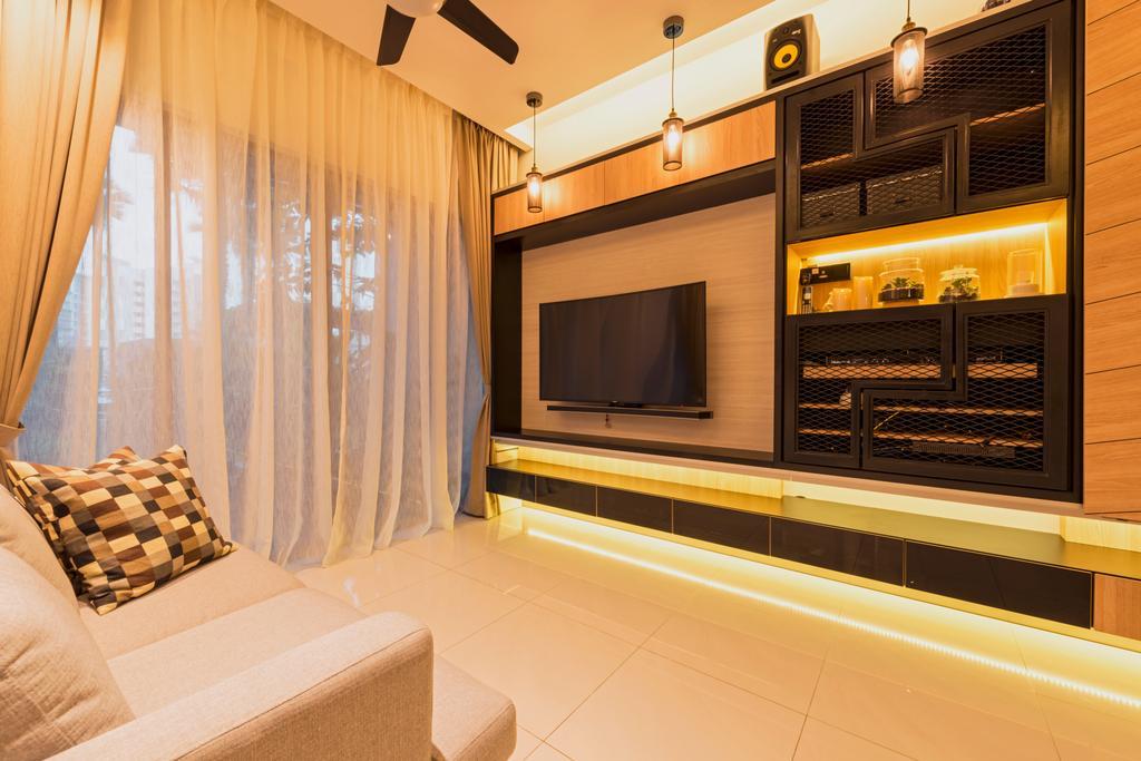 Modern, Condo, Living Room, Nine Residences @ Yishun, Interior Designer, The Local INN.terior 新家室, Industrial, Indoors, Interior Design