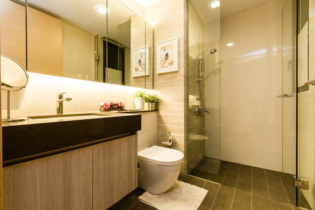 Modern, Condo, Bathroom, Hedges Park (Loyang), Interior Designer, Space Factor, Glass Shower Doors, Shower Doors, Glass Doors, Laminated Cabinet, Mirror, Mirror Cabinet, Indoors, Interior Design, Room, Molding