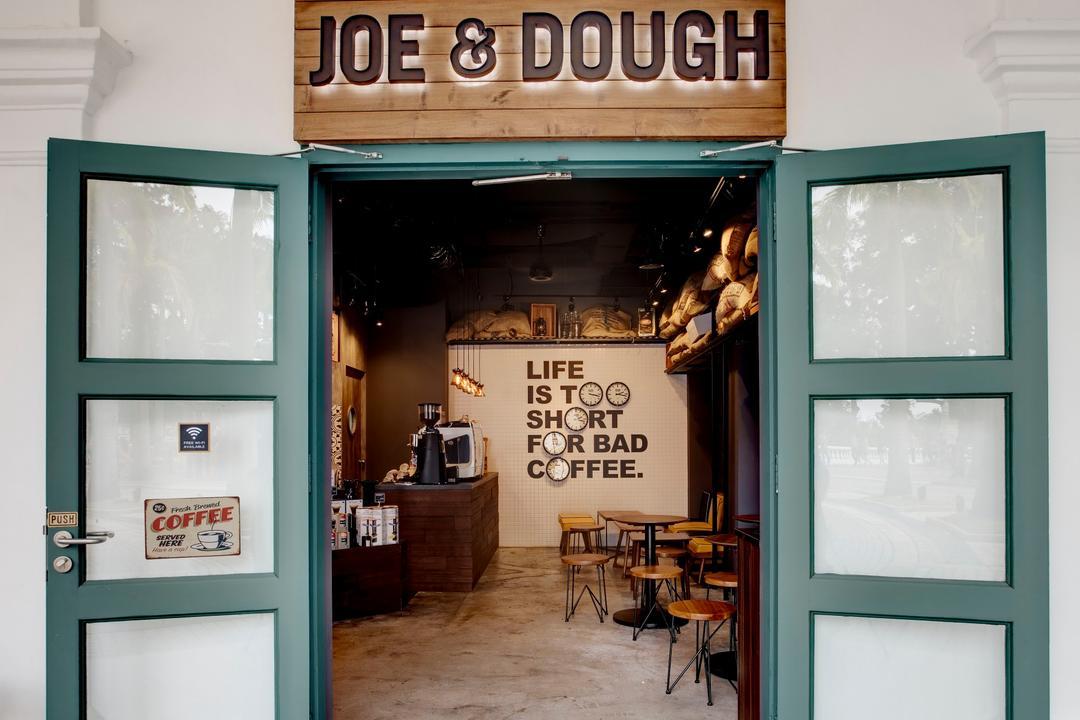 Joe & Dough (Sentosa), Liid Studio, Industrial, Commercial, Signage, Wooden Board, Entrance, Concrete Floor, Cafe, Restaurant, Shop