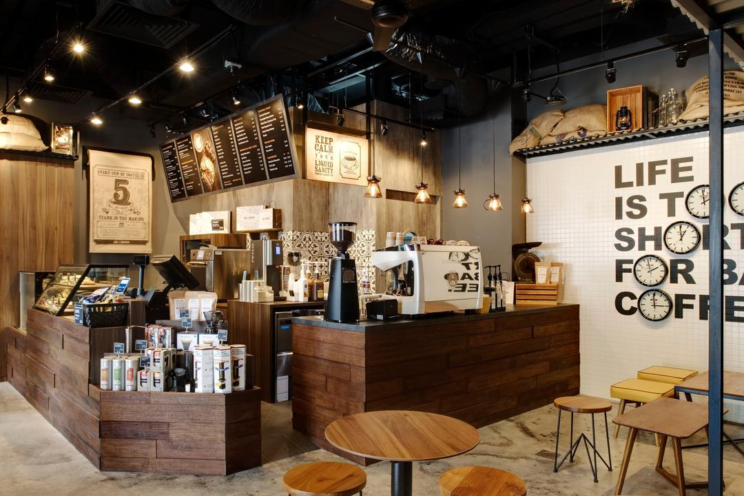 Joe & Dough (Sentosa), Liid Studio, Industrial, Commercial, Wall Art, Wallart, Concrete Floor, Wooden Chairs, Stool Chair, Wooden Stool Chairs, Ceiling Lights, Hanging Lights, Wooden Counter, Display Counter, Chair, Furniture, Cafe, Restaurant