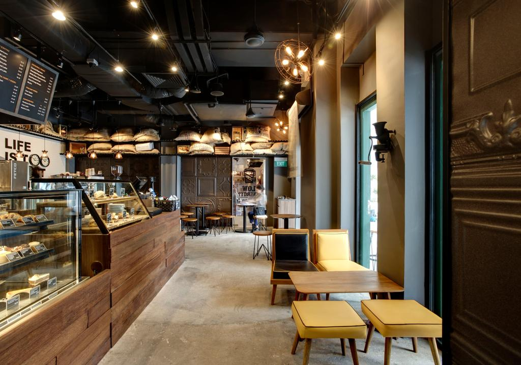 Joe & Dough (Sentosa), Commercial, Interior Designer, Liid Studio, Industrial, Ceiling Lighting, Recessed Lighting, Recessed Lights, Concrete Floor, Stool Chair, Yellow Stool Chair, Chairs, Wooden Table, Display Counters, Chair, Furniture, Bakery, Shop, Dining Table, Table, Couch, Restaurant