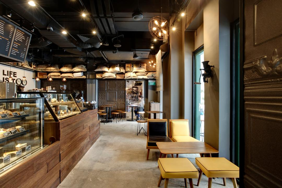 Joe & Dough (Sentosa), Liid Studio, Industrial, Commercial, Ceiling Lighting, Recessed Lighting, Recessed Lights, Concrete Floor, Stool Chair, Yellow Stool Chair, Chairs, Wooden Table, Display Counters, Chair, Furniture, Bakery, Shop, Dining Table, Table, Couch, Restaurant