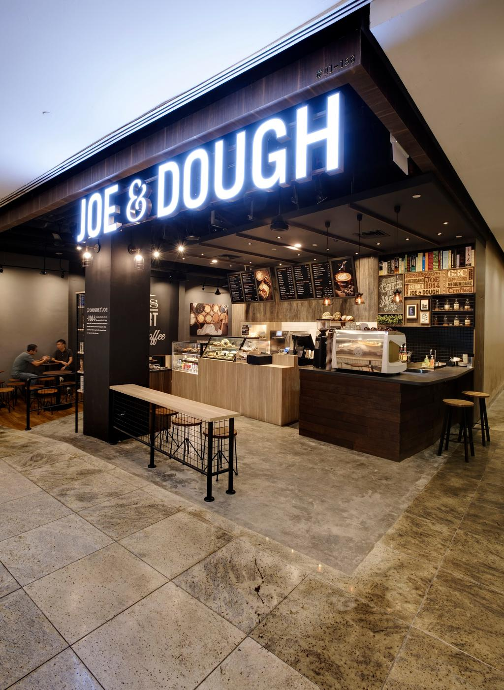 Joe & Dough (Novena), Commercial, Interior Designer, Liid Studio, Industrial, Concrete Floor, Signage, Neon Signage, Hanging Lights, Hanging Lighting, Wooden Table, Display Counter, Chairs, Counter, Appliance, Electrical Device, Oven, Indoors, Interior Design, Kitchen, Room, Flooring