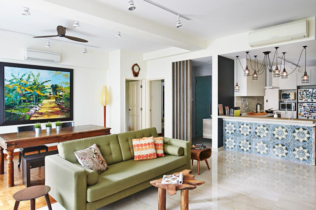 Hindhede Drive, Fuse Concept, Eclectic, Living Room, Condo, Track Lights, White Track Lights, Ceiling Fan, Green Sofa, Colourful Cushions, Cushions, Wooden Coffee Table, Coffee Table, Small Coffee Table, Tiled Kitchen Counter, Peranakan Tiles, Hanging Lights, Hanging Light Bulbs, Portrait, Wooden Dining Table, Couch, Furniture, Dining Table, Table, Home Decor, Linen, Tablecloth, Dining Room, Indoors, Interior Design, Room, Art, Painting, Chair