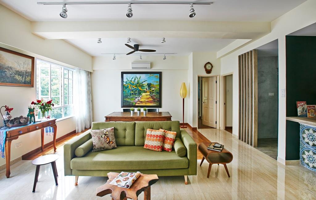 Eclectic, Condo, Living Room, Hindhede Drive, Interior Designer, Fuse Concept, Track Lights, White Track Lights, Ceiling Fan, Green Sofa, Colourful Cushions, Cushions, Wooden Dining Table, Wooden Coffee Table, Coffee Table, Wooden, Portraits, Wooden Partition, Display Table, Couch, Furniture, Indoors, Room, Interior Design, Dining Room