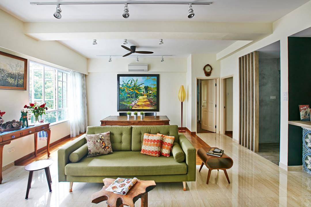 Hindhede Drive, Fuse Concept, Eclectic, Living Room, Condo, Track Lights, White Track Lights, Ceiling Fan, Green Sofa, Colourful Cushions, Cushions, Wooden Dining Table, Wooden Coffee Table, Coffee Table, Wooden, Portraits, Wooden Partition, Display Table, Couch, Furniture, Indoors, Room, Interior Design, Dining Room