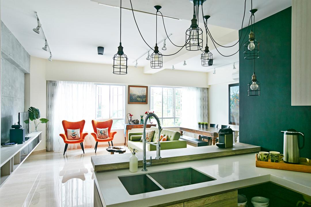 Hindhede Drive, Fuse Concept, Eclectic, Kitchen, Condo, Hanging Lights, Track Lights, White Track Lights, White Kitchen Counter Top, Orange Chairs, Grey Wall, Furniture, Chair, Dining Room, Indoors, Interior Design, Room