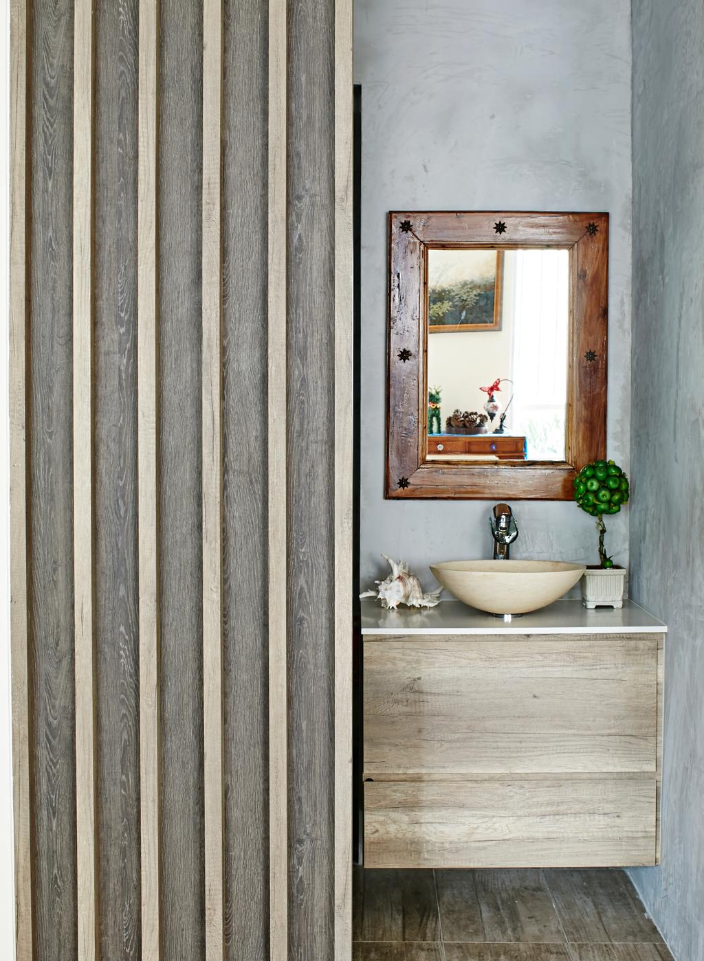 Eclectic, Condo, Bathroom, Hindhede Drive, Interior Designer, Fuse Concept, Grey Wall, Gray Wall, Laminated Cabinet, Cabinet On Wall, Mirror, Wooden Frame, Wooden Door, Basin, Beige, Decor, Plants Decor