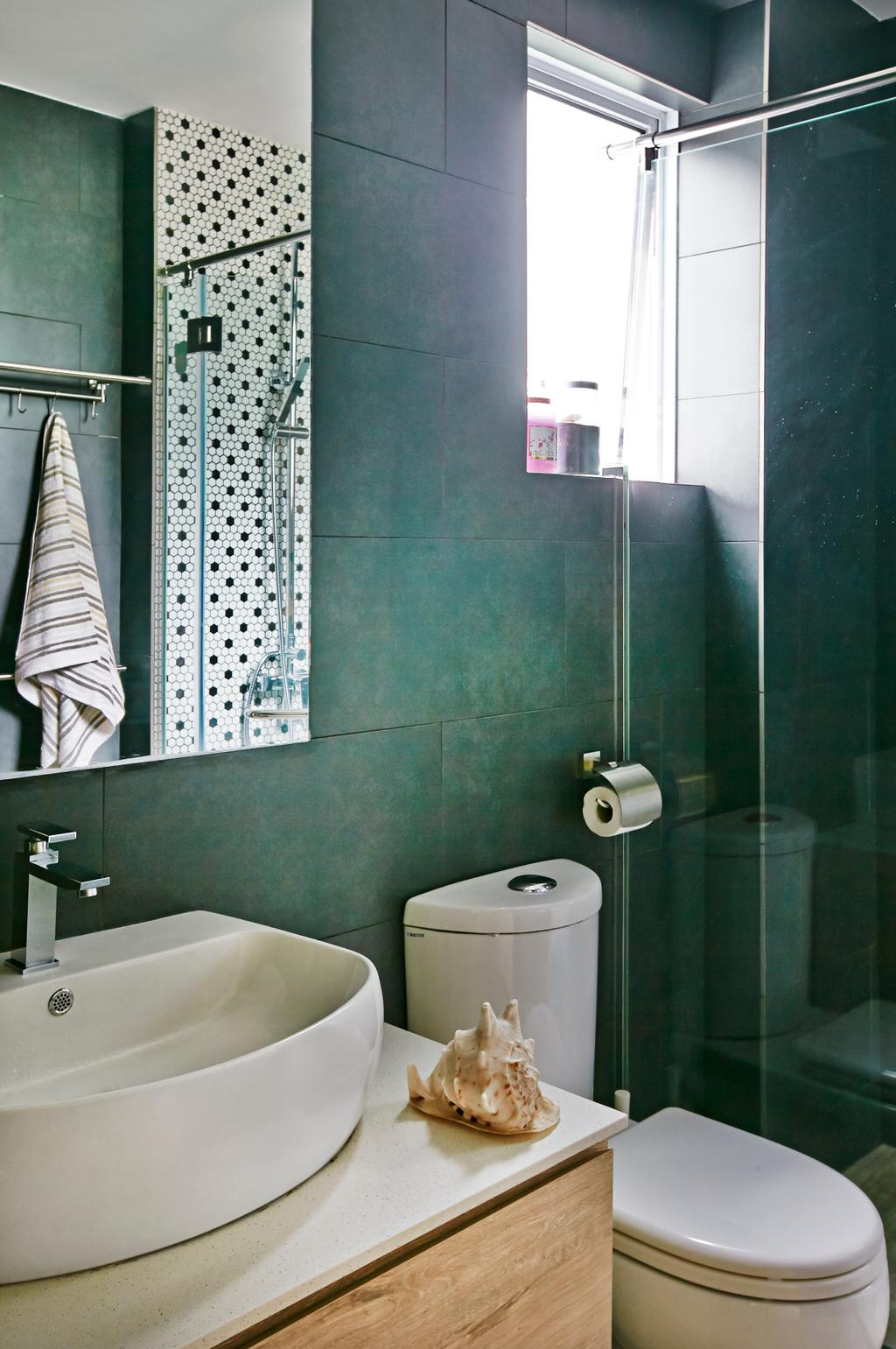 Eclectic, Condo, Bathroom, Hindhede Drive, Interior Designer, Fuse Concept, Shell, White Basin, Wooden Laminate, White Sink Top, Grey Wall, Gray Wall, Mirror, Glass Shower Doors