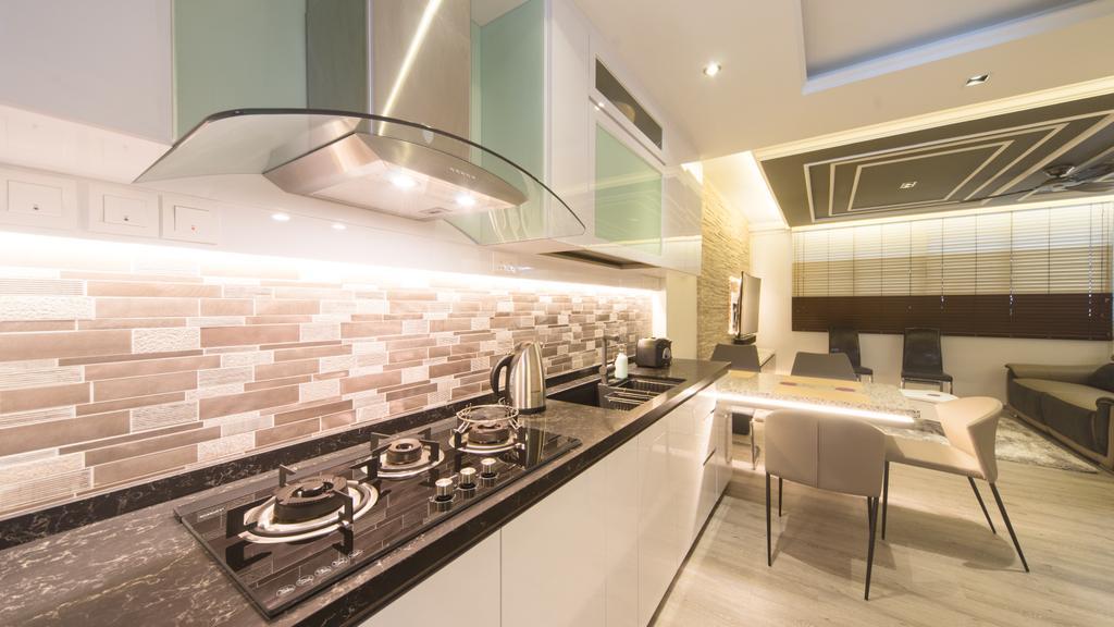 Modern, HDB, Kitchen, Serangoon Central, Interior Designer, D Initial Concept, Dining Table, Furniture, Table, Indoors, Interior Design, Chair
