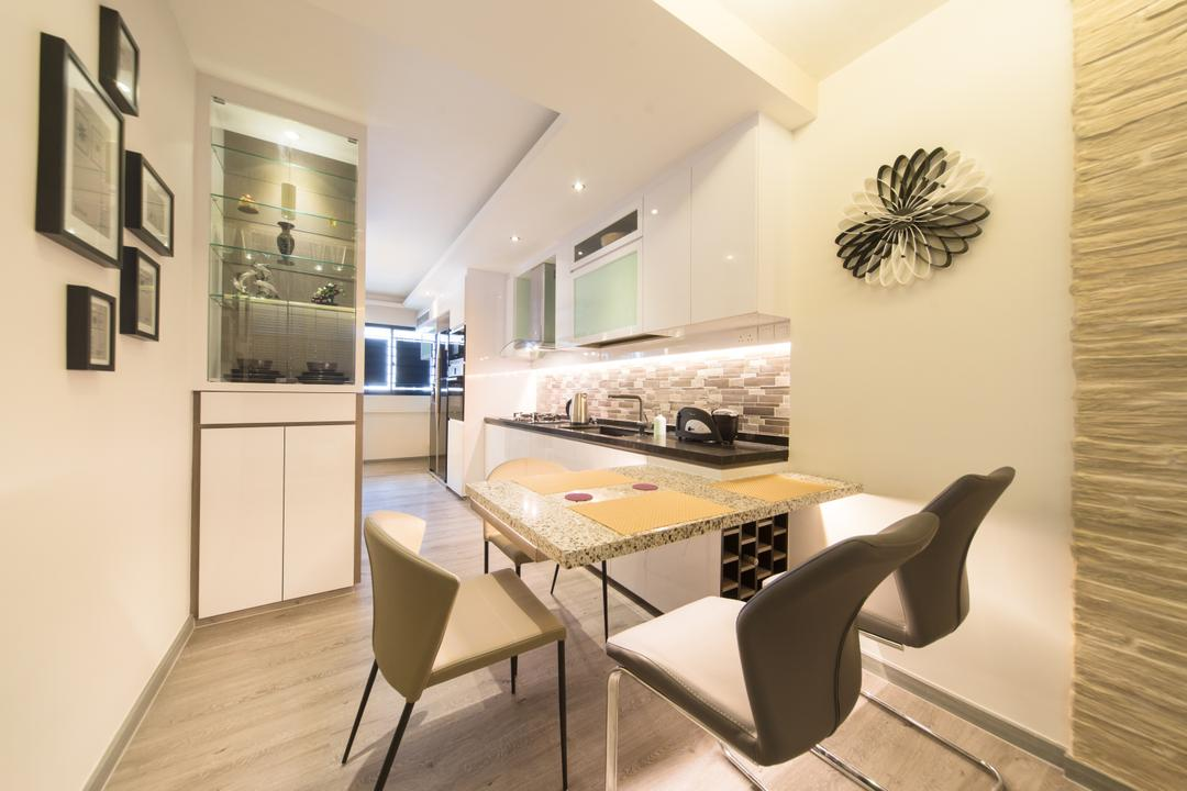 Serangoon Central, D Initial Concept, Modern, Dining Room, HDB, Chair, Furniture, Indoors, Interior Design, Room, Cabinet, China Cabinet