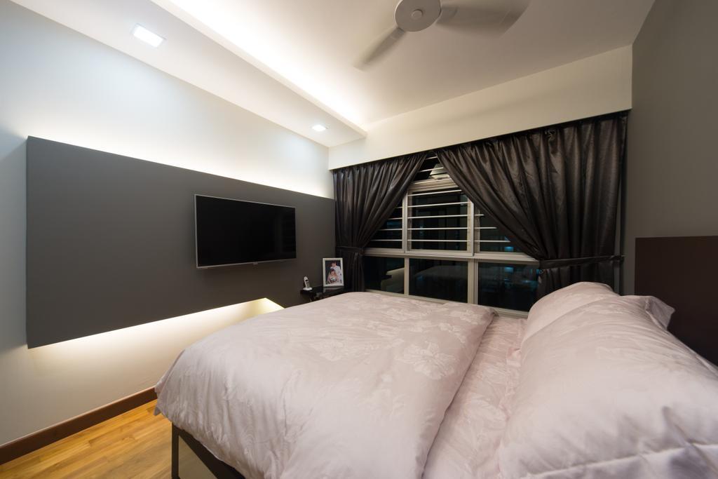 Modern, HDB, Bedroom, Yung Kuang, Interior Designer, D Initial Concept, Bed, Furniture, Indoors, Interior Design, Room