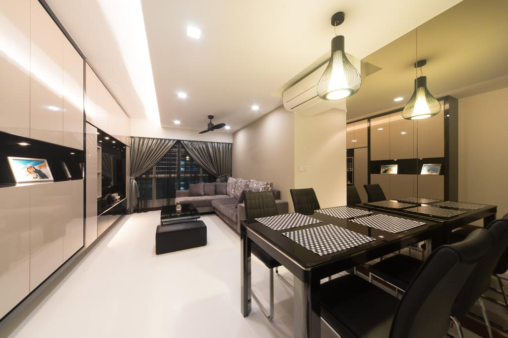 Modern, HDB, Dining Room, Yung Kuang, Interior Designer, D Initial Concept, Lighting, Dining Table, Furniture, Table, Indoors, Interior Design