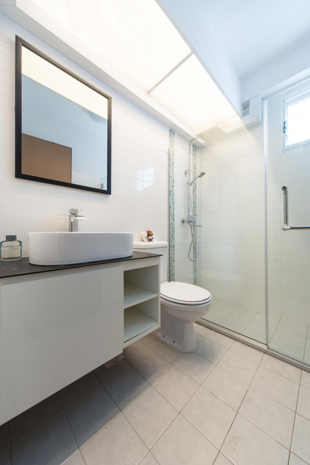 Modern, HDB, Bathroom, Sengkang East, Interior Designer, D Initial Concept, Minimalistic, Toilet, Indoors, Interior Design, Room